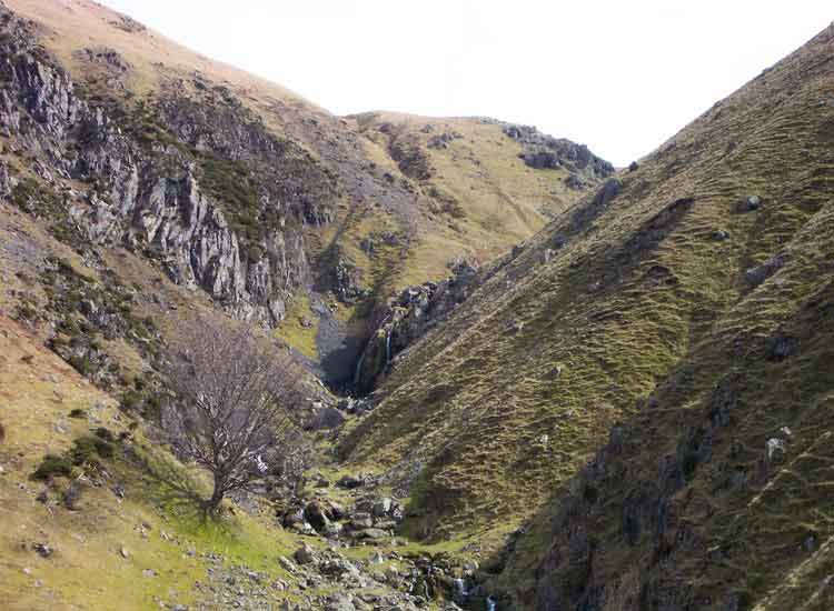 Looking up Stanah Gill from the path to Sticks Pass