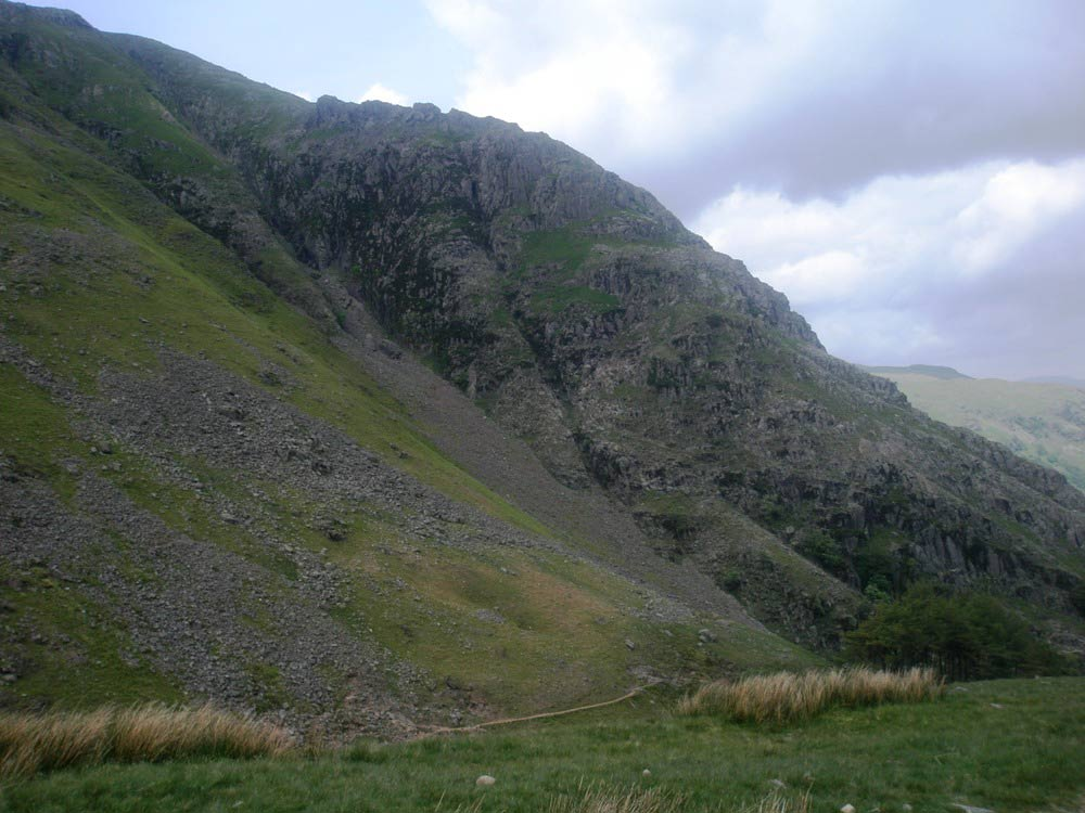 The crags above Taylorgill Force